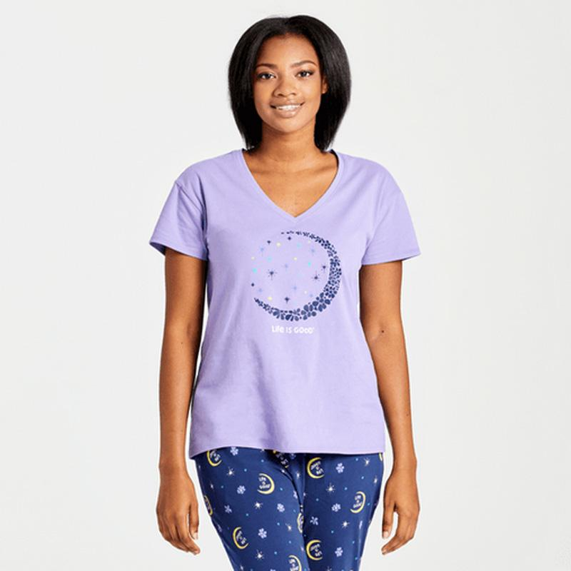 Women's Crescent Daisies Snuggle Up Relaxed Sleep Vee