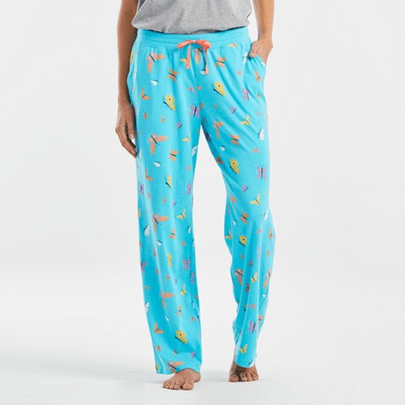 Women's Scattered Butterflies Print Snuggle Up Sleep Pant
