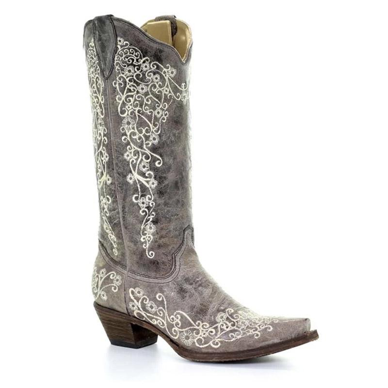 Women's Corral Brown Crater Bone Embroidery Boots