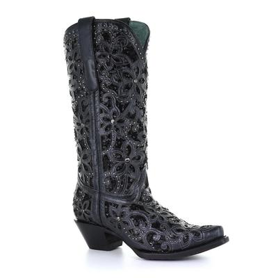 Women's Corral Black Inlay, Studs & Embroidery Boots