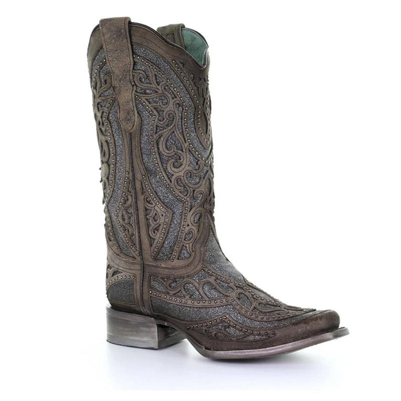 Women's Corral Brown/Grey Inlay Embroidery & Studs Boot